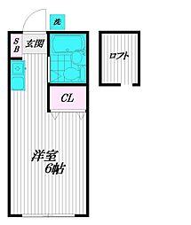 東京都府中市分梅町1丁目の賃貸アパートの間取り