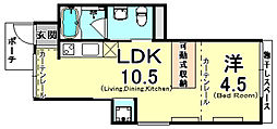 阪神本線 青木駅 徒歩5分の賃貸アパート 1階1LDKの間取り