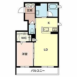 南海高野線 北野田駅 徒歩5分の賃貸マンション 2階1LDKの間取り