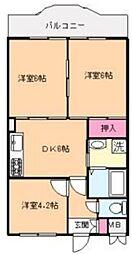 KUK 2階3DKの間取り