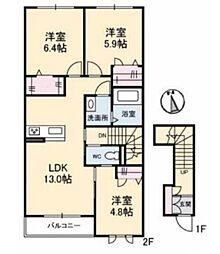 仮)シャーメゾン酒津 II[2階]の間取り