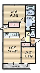 仮称D-Room陵南町[2階]の間取り