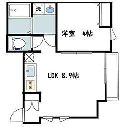 カバリーノ小田原 2階1LDKの間取り