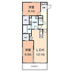 アメニティー多摩区枡形1丁目アパート 2階2LDKの間取り