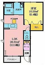 シャーメゾン青野 1階1LDKの間取り