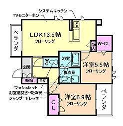 大阪府池田市満寿美町の賃貸アパートの間取り