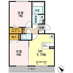 愛知県岡崎市法性寺町字色子の賃貸アパートの間取り