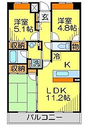東武東上線 川越駅 徒歩7分の賃貸マンション 3階3LDKの間取り