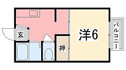 兵庫県姫路市新在家本町3丁目の賃貸アパートの間取り
