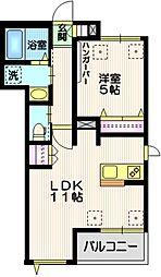 JR山手線 五反田駅 徒歩14分の賃貸マンション 2階1LDKの間取り