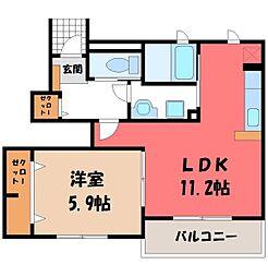 東武宇都宮線 壬生駅 徒歩18分の賃貸アパート 1階1LDKの間取り