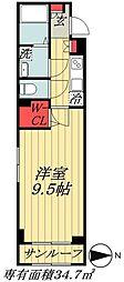 東京メトロ東西線 原木中山駅 徒歩5分の賃貸アパート 1階1Kの間取り