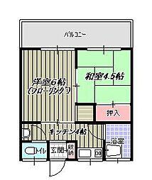 青葉荘[201号室]の間取り