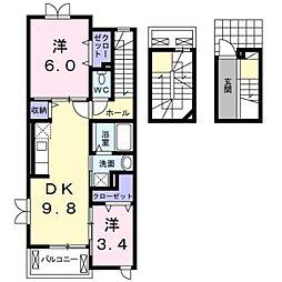 jinguji 3階2DKの間取り