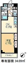 パトリス小豆沢 6階1DKの間取り
