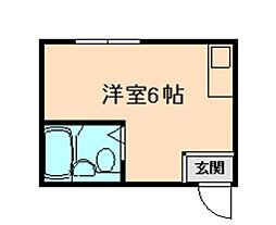 新大阪サンマンション3号館 3階ワンルームの間取り