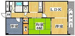 大阪府松原市上田6丁目の賃貸マンションの間取り