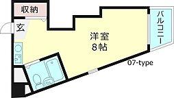 ダゼアマンション 3階ワンルームの間取り