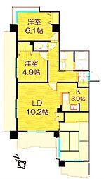 JR南武線 矢野口駅 徒歩5分の賃貸マンション 6階3LDKの間取り