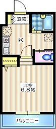 京急本線 金沢文庫駅 バス10分 ウッドパーク下車 徒歩1分の賃貸マンション 2階1Kの間取り