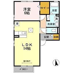 愛知県豊橋市神ノ輪町の賃貸アパートの間取り