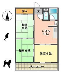 愛知県名古屋市名東区高針3丁目の賃貸マンションの間取り