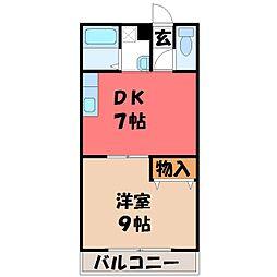 栃木県宇都宮市簗瀬3の賃貸マンションの間取り