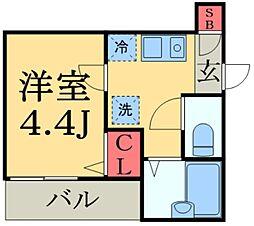 JR総武線 船橋駅 徒歩14分の賃貸アパート 1階1Kの間取り