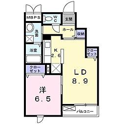 神奈川県藤沢市柄沢の賃貸マンションの間取り