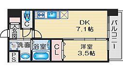 アンフィニXVIIマローネ 3階1DKの間取り