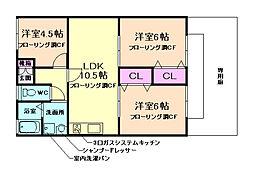 大阪府箕面市新稲6丁目の賃貸アパートの間取り
