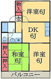 千葉県千葉市緑区おゆみ野中央5の賃貸アパートの間取り