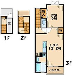 コリーヌ・M 3階1LDKの間取り