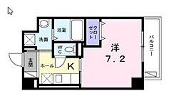 JR南武線 津田山駅 徒歩10分の賃貸マンション 3階1Kの間取り