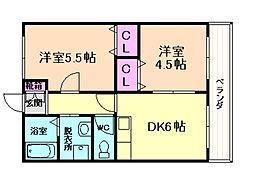 大阪府豊中市刀根山3丁目の賃貸アパートの間取り