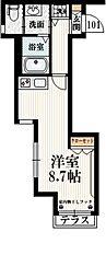 メゾン ノールマレ 1階ワンルームの間取り