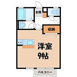 栃木県宇都宮市峰1丁目の賃貸アパートの間取り