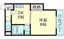 メゾンドフレシェール 7階1DKの間取り