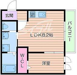 阪急千里線 豊津駅 徒歩4分の賃貸アパート 3階1LDKの間取り