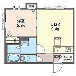 仮)K's ウィステリア 1階1LDKの間取り