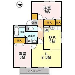 大阪府堺市中区東山の賃貸アパートの間取り
