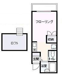 Apartment 三鷹の森 2階ワンルームの間取り