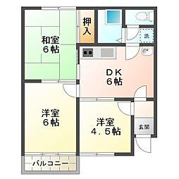 愛知県岡崎市上地5丁目の賃貸アパートの間取り