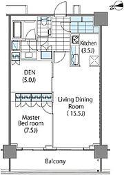 コンフォリア新宿イーストサイドタワー タワー棟 8階1SLDKの間取り