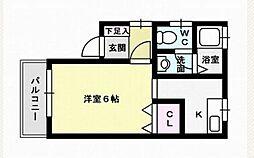 福岡県福岡市城南区南片江2丁目の賃貸アパートの間取り