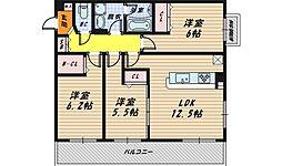 新喜多東1丁目新築マンション[2階]の間取り