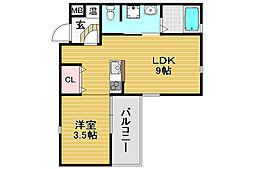 グランフォレスタ吹田東 4階1LDKの間取り