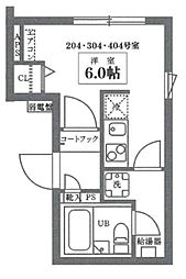 ココキューブ井草 4階ワンルームの間取り