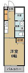 東武東上線 川越駅 バス24分 上井草下車 徒歩6分の賃貸アパート 2階1Kの間取り