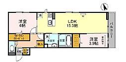 JR阪和線 百舌鳥駅 徒歩17分の賃貸アパート 3階2LDKの間取り